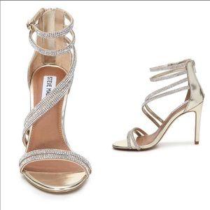 Steve Madden Fifi Gold Jewel Strappy Heels 8